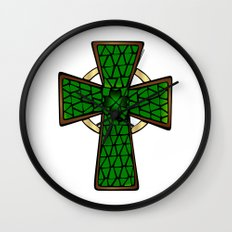 Shamrock Celtic Cross Wall Clock