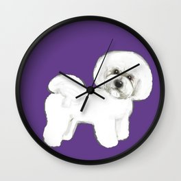 Bichon Frise dog on Ultraviolet, 2018 Bichon , Year of the dog, Pantone Ultraviolet Wall Clock
