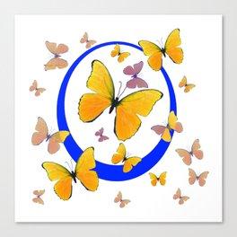 YELLOW BUTTERFLIES & BLUE RING MODERN ART Canvas Print