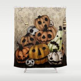 Halloween Pumpkins, a Cornucopia of Jack o' lanterns. spoopy Shower Curtain