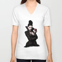 evil queen V-neck T-shirts featuring The Evil Queen by Cursed Rose