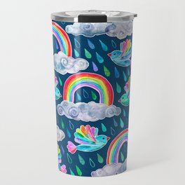 Spring Showers and Rainbow Birds on Navy Blue Travel Mug
