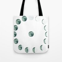 moon phases Tote Bags featuring Phases by Hope