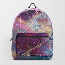 Watercolor and nebula sacred geometry  Backpack