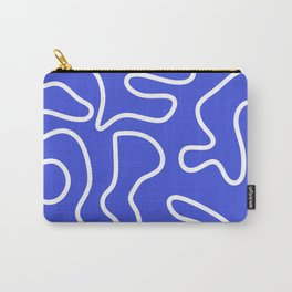 Squiggle Maze Abstract Minimalist Pattern in Electric Blue and White Carry-All Pouch