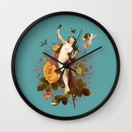 Selfie (blue) Wall Clock