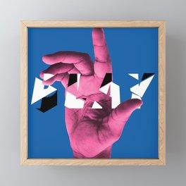 PLAY (blue) Framed Mini Art Print