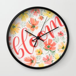 Bloom Hand Lettered Flower Painting Wall Clock