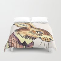 rabbits Duvet Covers featuring Rabbits Garden by Katie O'Hagan