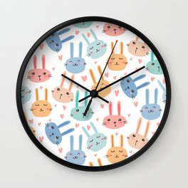 Funny Bunnies Wall Clock