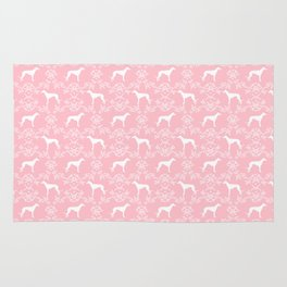 Greyhound floral silhouette pink and white minimal dog silhouette dog breed pattern Rug