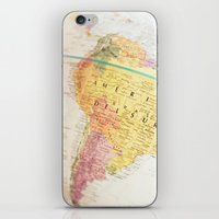 world maps iPhone & iPod Skins featuring Maps by Caroline Mint