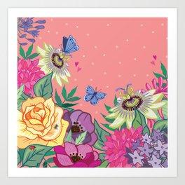 Bright Garden Flowers on Coral Art Print