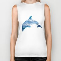 dolphin Biker Tanks featuring Dolphin by Inna Trifonova