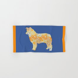 Border Collie Vintage Floral Pattern Orange Blue Yellow White Hand & Bath Towel