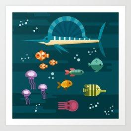 Sea animals 2 Art Print