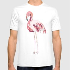 Flamingo White Mens Fitted Tee MEDIUM