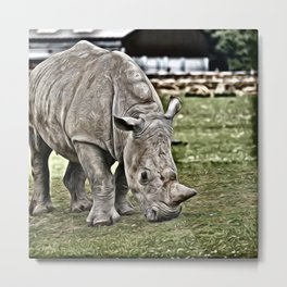 Painted Rhino Metal Print