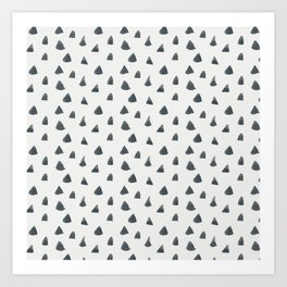 Geometrical black white hand painted watercolor triangles Art Print