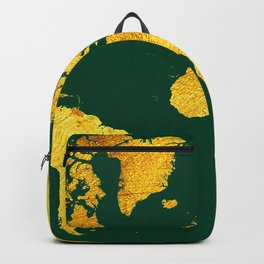 Forest Green and Gold Map of The World - World Map for your walls Backpack