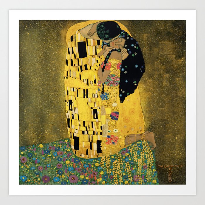 Curly version of The Kiss by Klimt Art Print
