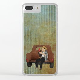Rooster man and his pick up truck Clear iPhone Case