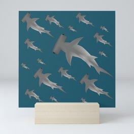 Hammerhead shark school Mini Art Print