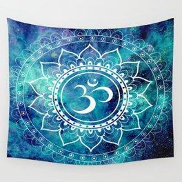 Galaxy Om Mandala Aqua Midnight Blue Wall Tapestry