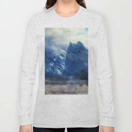 Yosemite Valley Twin Peak 1859 By Albert Bierstadt | Reproduction Painting Long Sleeve T-shirt