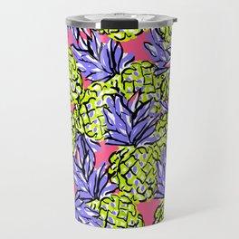 Pineapples on Pink Travel Mug