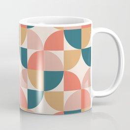 Mid Century Modern Geometric Pattern 322 Orange Teal Dusty Rose and Beige Coffee Mug