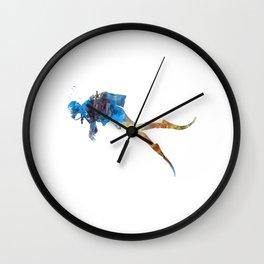 Man scuba diver 01 in watercolor Wall Clock