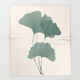 Ginko Leaves Throw Blanket