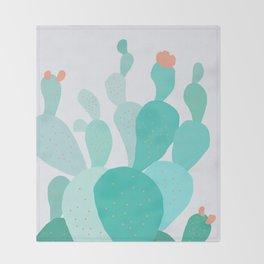 Watercolor of cacti IX Throw Blanket