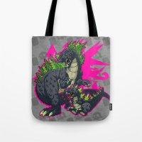 kaiju Tote Bags featuring Kaiju Senior Kaiju Junior by firestarterdesign