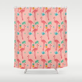 Flamingo Pineapple Pattern Shower Curtain