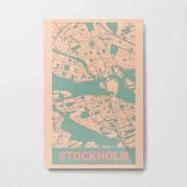 Stockholm, Sweden, city map, Apricot Metal Print