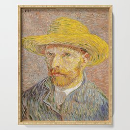 Vincent van Gogh - Self-Portrait with a Straw Hat - The Potato Peeler Serving Tray