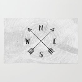 Black and White Wood Grain Compass Rug
