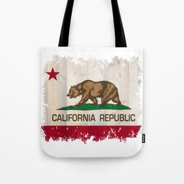 California Republic flag on woodgrain   Tote Bag