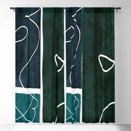 aqua watercolor trio Blackout Curtain