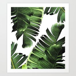 Banana Leaf - Tropical Leaf Print - Botanical Art - Modern Abstract - Green, Olive Art Print