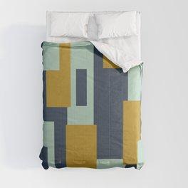 Cosmopolitan Mid Century Modern Geometric Pattern Mint Mustard Blue Comforters