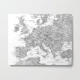 Gray watercolor map of Europe Metal Print