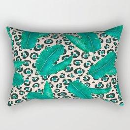Trendy Tropical Banana Leaf Leopard Print Rectangular Pillow