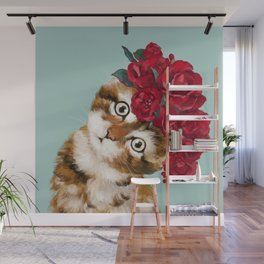 Baby Cat with Red Rose Crown Wall Mural