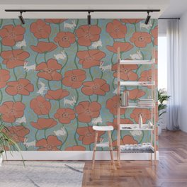 Dreamy Day - Poppies and Bunnies Pattern Wall Mural