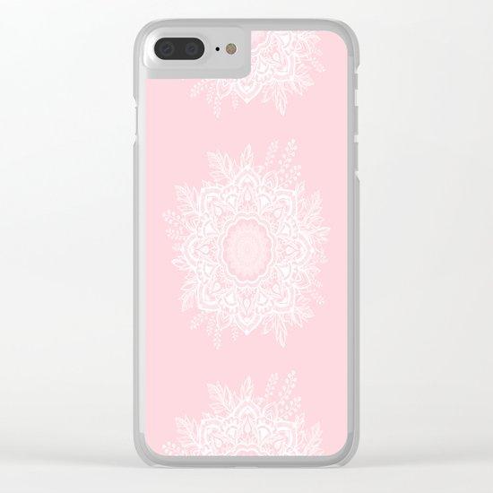 Mandala Bohemian Summer Blush Millennial Pink Floral illustration Clear iPhone Case