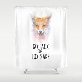 Fox Head Watercolor Go Faux Shower Curtain