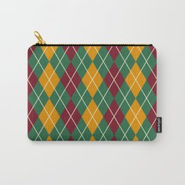 Maroon Green And Gold Argyle Carry-All Pouch